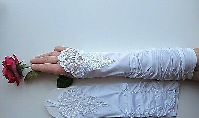 Finger-less, Satin, Stretchy with Lace & Pears Cocktail Gloves; Bridal Prom.