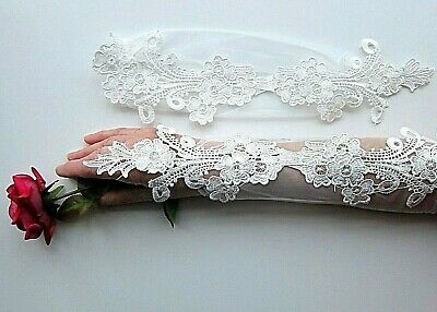 Lovely Finger-less Long Lacey Gloves with Flowers Wedding BRIDALProm Occasion