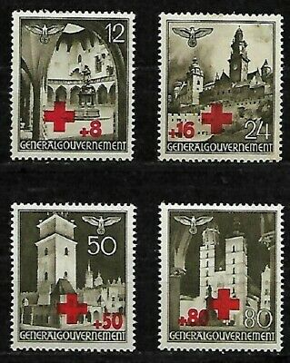 *L@@K*German Occupation Poland, #52 - #55..  4 Red Cross Stamps.1940.