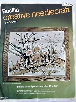 "Bucilla Creative Needlecraft ""Birchland"" #2055 Crewel Embroidery Kit 19"" x 23"""