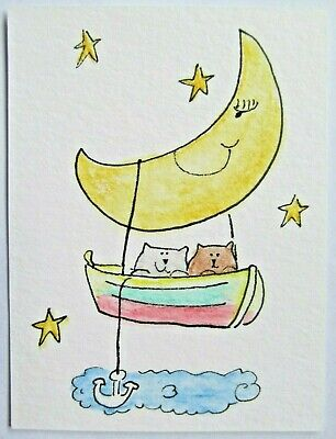 ACEO Original Watercolor Cats Boat Anchor Moon Boating Stars by Artist MiloLee