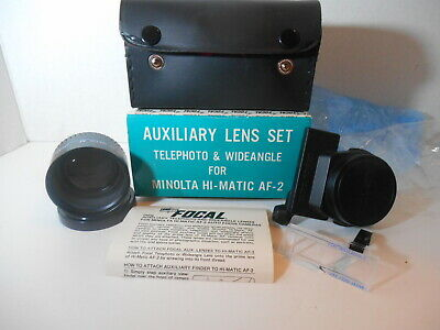 Focal Auxiliary Lens Set Telephoto & Wide Angle for MINOLTA HI-MATIC AF-2