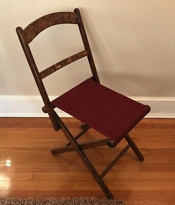 Antique Wood Folding Chair w/ Gold Stencil & New Burgundy Seat, Nice!