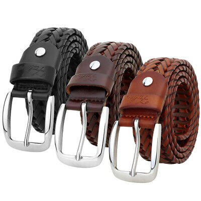 Falari® Men Leather Hand Braided Belt Stainless Steel Buckle Casual Dress Belt