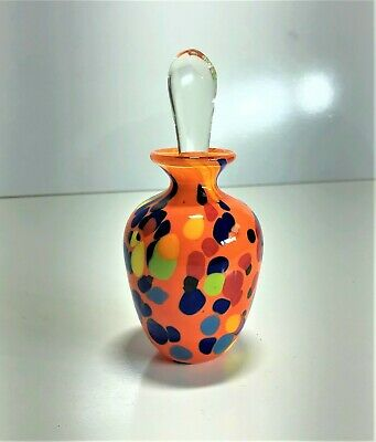 2004 R. Shroeder New Zealand Studio Art Glass Trinket Perfume Bottle | 12Cm