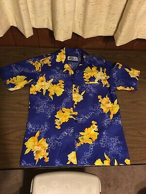 Vintage HILO HATTIE HAWAIIAN Shirt M Blue AND YELLOW FLORAL RN37145 Front Pocket