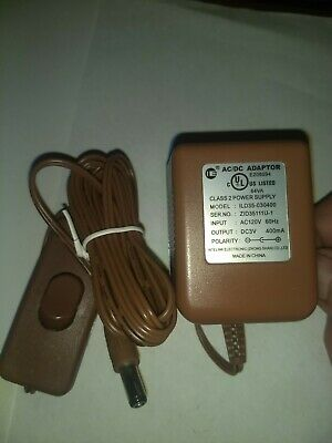 AC DC Adaptor DC 3V 400 mA with On /Off Switch on Cord New with Box