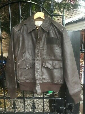 0dba10a98 VINTAGE ORIGINAL USAF A2 brown leather Flyers Flying Bomber jacket size  small