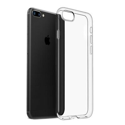 For iPhone 8 Plus Crystal Clear Shockproof Silicone Protective Case Cover
