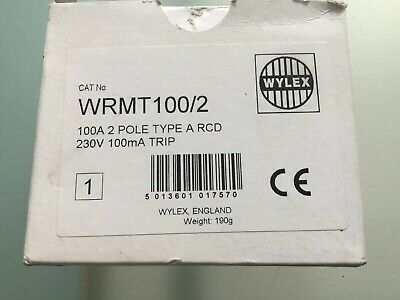 WYLEX WRMT100/2 100A 100mA DP TYPE A TIME DELAYED RCD