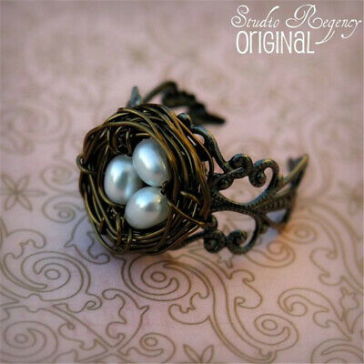 Lovely Fashion Women Men Bird Nest Pearl Bronze Ring Party Jewelry Open Size