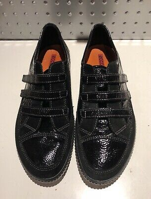 ECCO Black Patent Leather+Suede 3 Velcro Strap Fastening Sneakers Womens 41-EUC!