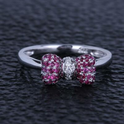 Solid 14K White Gold Engagement Wedding Pave.2ct Diamond Ruby Bowknot Fine Ring