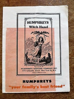 1950s Humphreys Witch Hazel Booklet Medicine Product Foldout Ad English Spanish