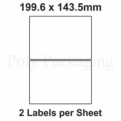 1000 x A4 Printer Labels(2 PER SHEET)(199.6x143mm) Plain Self Adhesive Address