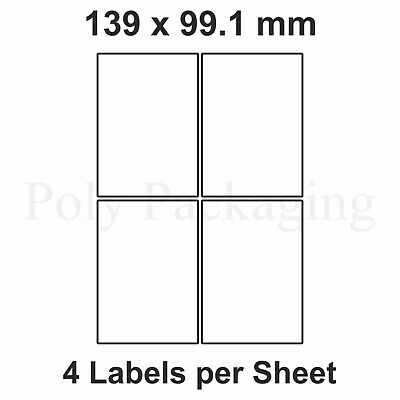 200 x A4 Printer Labels(4 PER SHEET)(99.1x139mm) Plain Self Adhesive Address