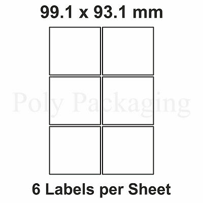 2000 x A4 Printer Labels(6 PER SHEET)(99.1x93.1mm) Plain Self Adhesive Address