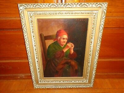 Antique 19th.c Oil on Canvas Portrait Painting of a Woman Threading a Needle