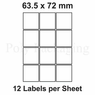 200 x A4 Printer Labels(12 PER SHEET)(63.5x72mm) Plain Self Adhesive Address