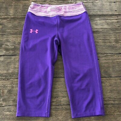 Under Armour Youth Girls Medium M Fitted Cropped Leggings Workout All Season