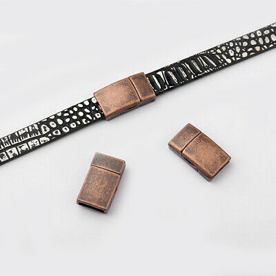 5sets Antique Copper Flat Magnetic Clasp For 10*2mm Leather Cord Bracelet Making