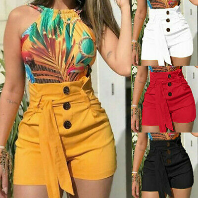 Women High Waisted Button Shorts Summer Casual Stretch Lace UP Short Pants US