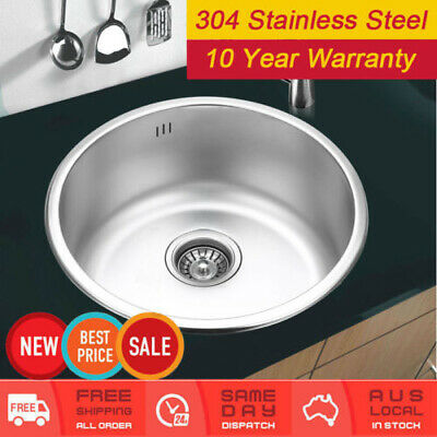 410mm 304 Stainless Steel Kitchen Laundry Sink + Waste Round Bowl
