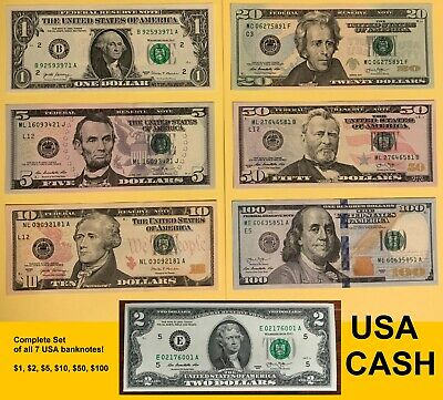 UNC Complete Set Mint US A Notes Rare American Collection $ 100 50 20 10 5 2 1