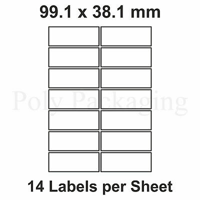 1000 x A4 Printer Labels(14 PER SHEET)(99.1x38.1mm) Plain Self Adhesive Address