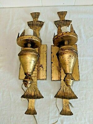 Gorgeous Pair Vintage Antique Spanish Gothic Made in Spain Gilt Iron Sconces