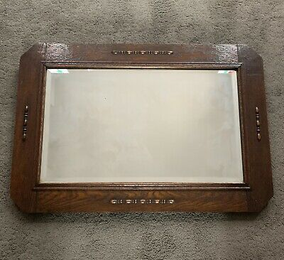 Oak Framed Art Deco Wall Mirror with Hanging Chain