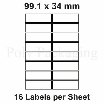 1000 x A4 Printer Labels(16 PER SHEET)(99.1x34mm) Plain Self Adhesive Address