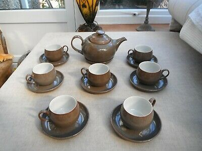 Denby Greystones quality huge tea pot and 7 cups and 8 saucers