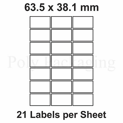 200 x A4 Printer Labels(21 PER SHEET)(63.5x38.1mm) Plain Self Adhesive Address