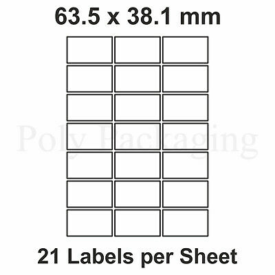 500 x A4 Printer Labels(21 PER SHEET)(63.5x38.1mm) Plain Self Adhesive Address