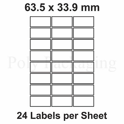 2000 x A4 Printer Labels(24 PER SHEET)(64x33.9mm) Plain Self Adhesive Address