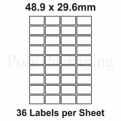 10 x A4 Printer Labels(36 PER SHEET)(48.9x29.6mm) Plain Self Adhesive Address