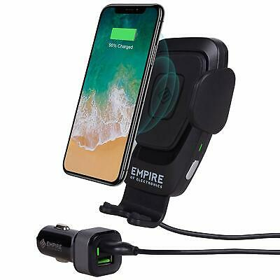 Empire of Electronics Wireless Car Charger Mount | Automatic Phone Holder 10W Qi