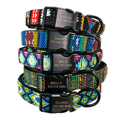 Personalized Pet Dog Collar Soft Neoprene Padded Engraved Metal Buckle Boxer S-L