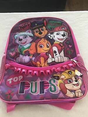 "Girls Paw Patrol 16"" Backpack with Ruffle Top Pups 2 zippered compartments"