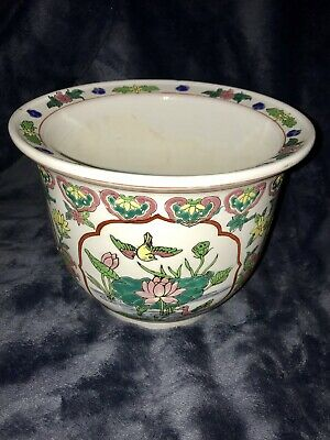 """Vintage Chinese Hand Painted Porcelain Ceramic Clay Jardiniere Planter Pot 6""""x8"""""""