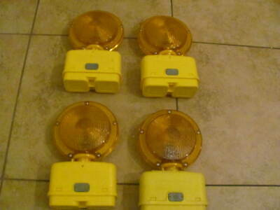 4- NEW C & C Barricade Lights Orange Flashing Warning Construction safety $20.00