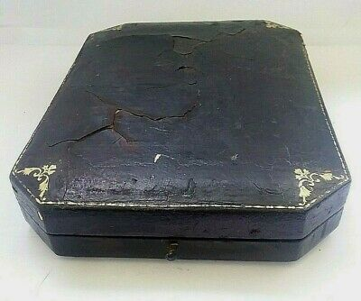 Rare Extra Large Antique Leather Push Button Cameo Or Portrait Display Box