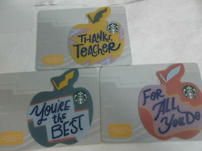 NEW STARBUCKS TEACHER Collectible Gift Card 2019 LOT of 3 Cards