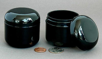 2 BLACK 2oz 60ml Empty Plastic Cosmetic Double Wall Cream Jars Domed Containers