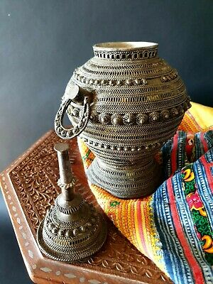 Old Yemeni Silver Filigreed Lidded Container / Urn b.) …beautiful collection &.
