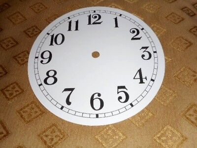 "Round Paper Clock Dial- 4 3/4"" M/T- Arabic-GLOSS WHITE-Face/Clock Parts/Spares #"