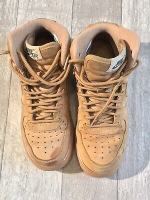 best website f96fb 31d22 Youth Size 5Y Flax Wheat Nike Air Force 1 High LV8 Leather Shoes 807617-200