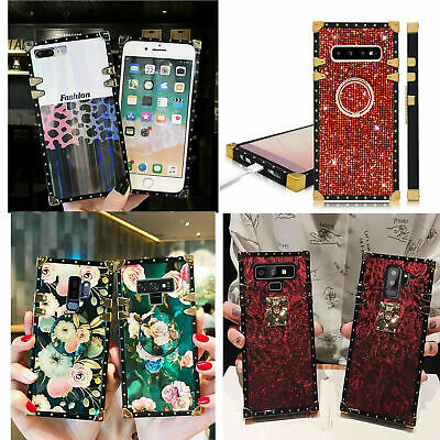 Samsuang NOTE8 9 S10+ S9 S8 Glitter Diamond Rose Leather Shockproof Square Case