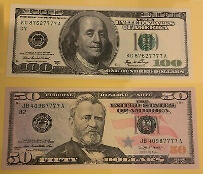 $50 + $100 7777 Lucky Special Serial Number 100 50 Dollar Bill Note USA UNC 777